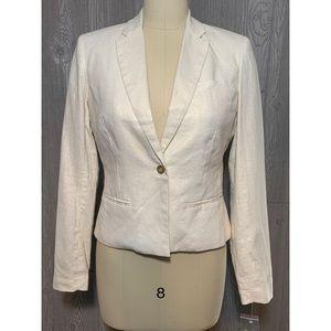 Kenar Linen Ivory Gold Glimmer Jacket Blazer S